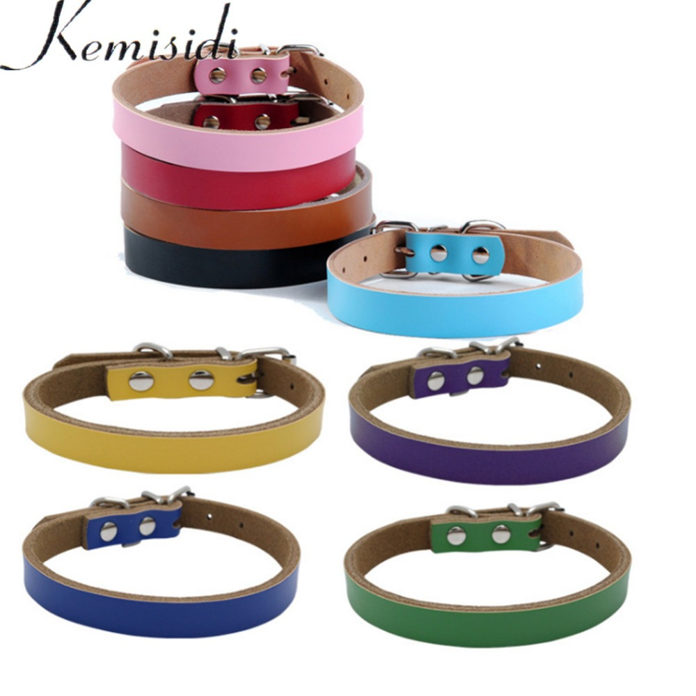 KEMISIDI Dog Collars Breakaway Personalized Basic Collars Supplies Brown Blue Pink Red Black 5Colors XS S M L Size For Pet Dogs