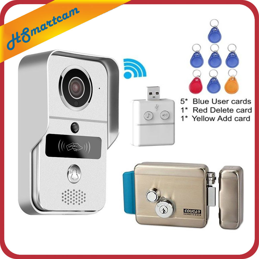 Wireless IP WIFI RFID Electric Lock SD Card Video Door Phone Doorbell Intercom System Night Vision HD 3G Access Control System new wireless ip doorbell with 720p camera video phone wifi door bell rfid code keypad night vision hd cameras for ios android