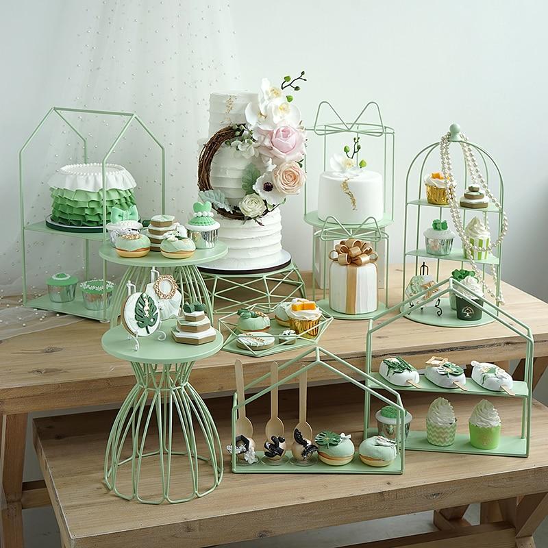 SWEETGO Matte Green Cake Stands Cupcake Holder Racks Birdcage Home Decoration Candy Bar Dessert Table Party Showcase Supplier