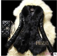 2017 Brand New Womens Patchwork Faux Fur Pu Leather Jackets Imitation Fox Collars  Winter Autumn Leather Jackets Outwear K07