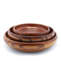 23cm Natural Wooden Trumpet Wooden Plate Salad Bowl Fruit Plate Wooden Bowl frut tray snack wood plates dishes dinner plates
