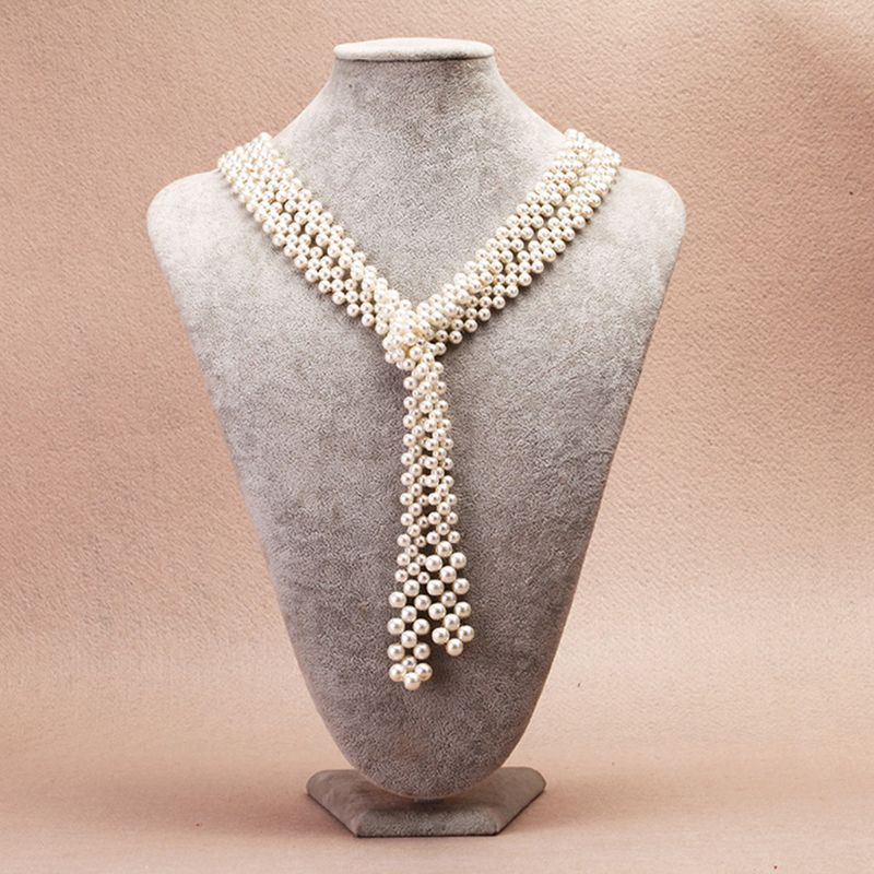 White Crystal Pearl Pendant Necklace Long Sweater Fashion Jewelry Women
