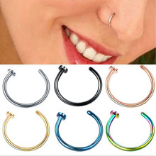 2 Pieces/lot 20G 0.8mm Rose Gold Silver Stainless Steel Hoop Nose Ring Nostril Rings Body Piercing Jewelry(China)
