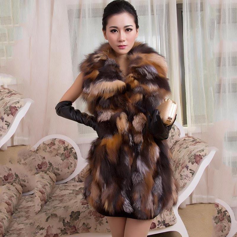 Kvinner Real Fox Fur Long Vest Mote Damer Vinter Ermeløs Belt Design Tykk Klær Stor Størrelse Raccoon Fur Leather JacketRea