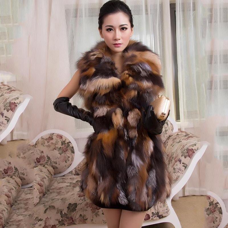 Frauen Echten Fuchspelz Lange Weste Mode Damen Winter Sleeveless Gürtel Design Dicke Kleidung Große Waschbärpelz LederjackeRea