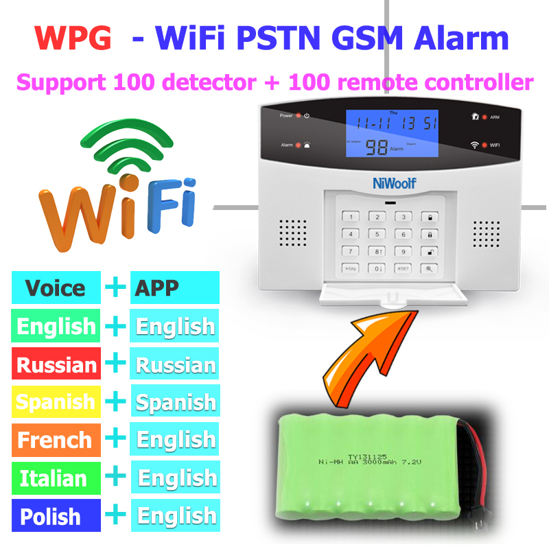 Wifi PSTN GSM Alarm System Compatible With 433MHz Wireless /Wired Detectors Door Sensor Alarm Smart Home Relay Output Phone APP