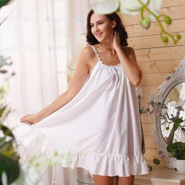 Cotton Nightgown Princess Women Plus Size White Cotton Sleeveless Nightgown  Summer Sunflower Ruffle Sleep Dress 400fb38b7