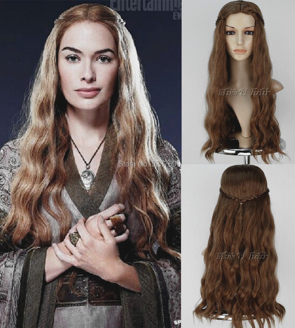 Cosplay Wig Inspired by Game Of Thrones Queen Cersei Lannister brown Costume wigs
