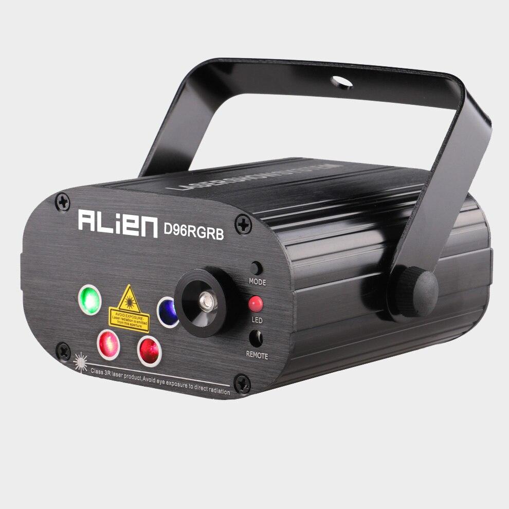 Alienígena nuevos 96 patrones RGB Mini luz láser proyector fiesta de discoteca DJ música láser etapa efecto de iluminación con LED azul luces de Navidad - 2