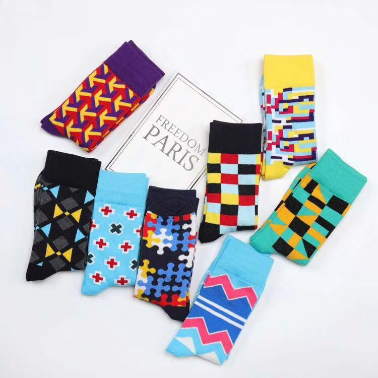 Brand Quality Mens Happy Socks 8 Colors Striped Plaid Puzzle Wave Socks Big  Size 47  Men Combed Cotton Calcetines Largos Hombre