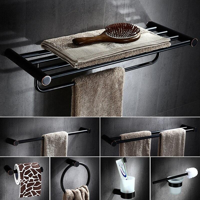 Copper bathroom hardware pendant European black bronze racks double towel rack single pole bathroom accessories GJ 0