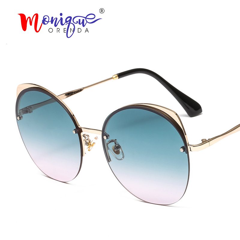Oversized Sunglasses Big-Size Eyewear Vintage-Style Gradient Women Fashion Brand Designer