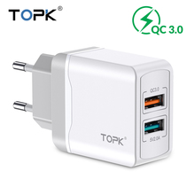TOPK quick charge 3.0 usb Charger for xiaomi EU phone charger for iphone x xs fast charging charger for Huawei Samsung Adapter
