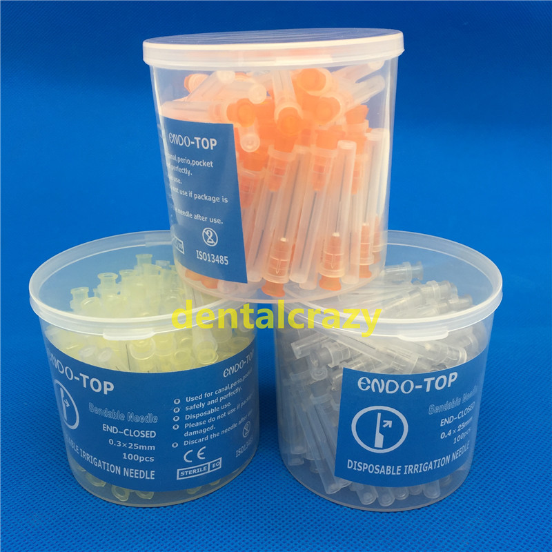 Dental Endo Syringes 100Pc 30GA/25GA/27GA End-Closed Side Hole Irrigation Needle Tip Syringe Needle