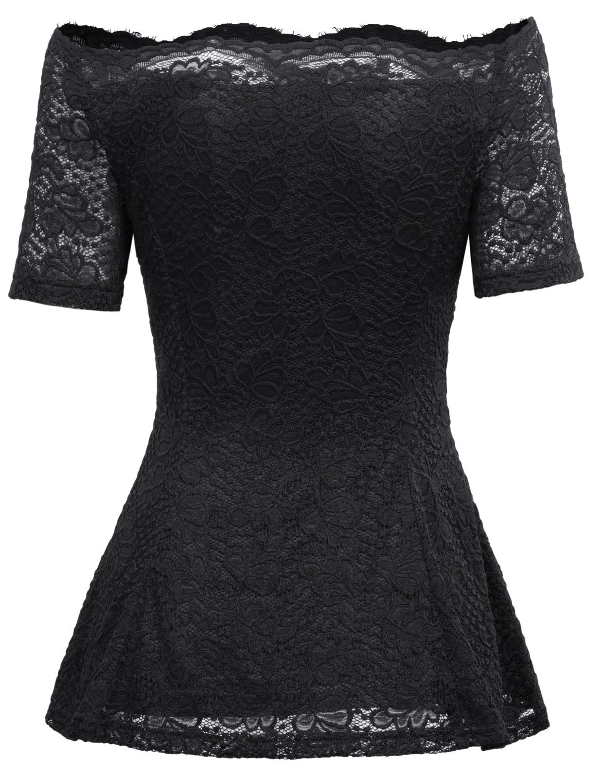 Sexy elegant Women slash neck Off Shoulder short sleeve Floral Lace shirt black and wine blouses 2018 summer tops