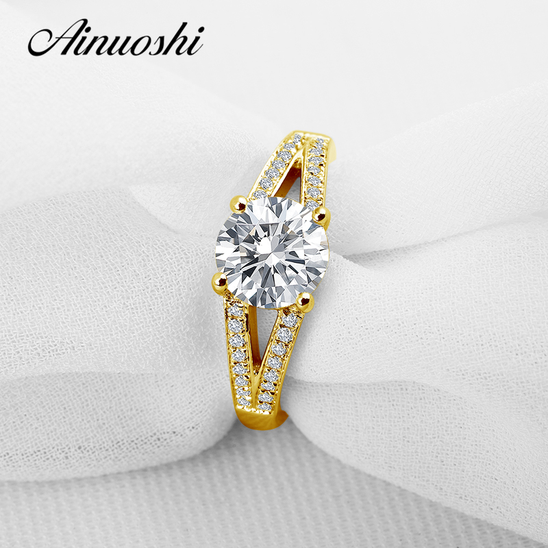 AINUOSHI 10K Solid Yellow Gold Wedding Ring 2 ct Round Cut Simulated Diamond Anel de ouro Female Wedding Rings for Women Gifts ainuoshi 10k solid yellow gold wedding ring 2 ct round cut simulated diamond anel de ouro female wedding rings for women gifts