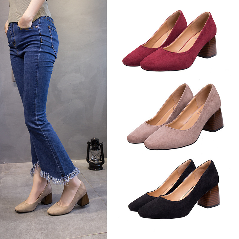 EOEODOIT Women Spring Autumn Pumps Fashion Square Toe Med Chunky Heel Slip On Casual Lady Office Casual Daily Shoes 6 cm