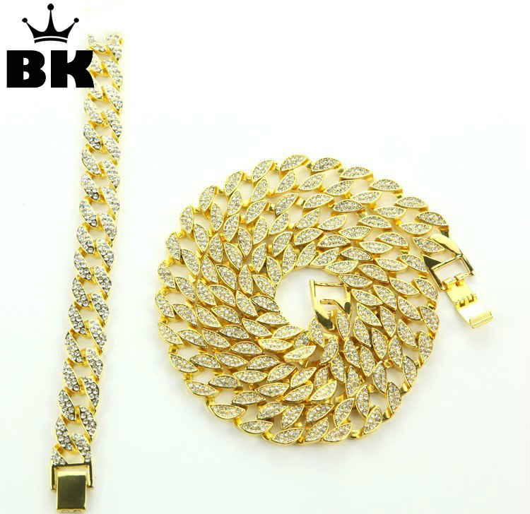 Solid Miami Cuban Link Chain Necklace Gold Color 30