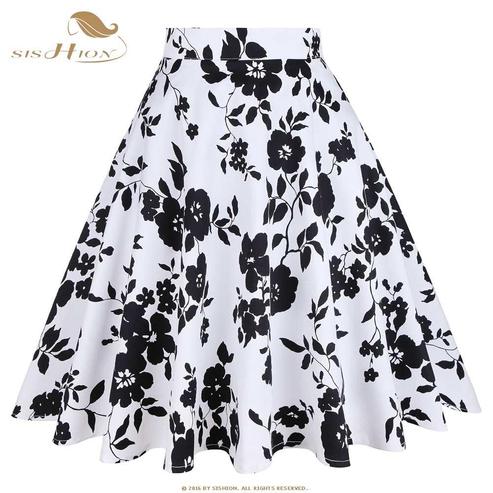 SISHION Floral Skirt 2018 A Line Cotton White Black Flower Print High Waist Summer Women Skirt Vintage Midi Skater Skirts