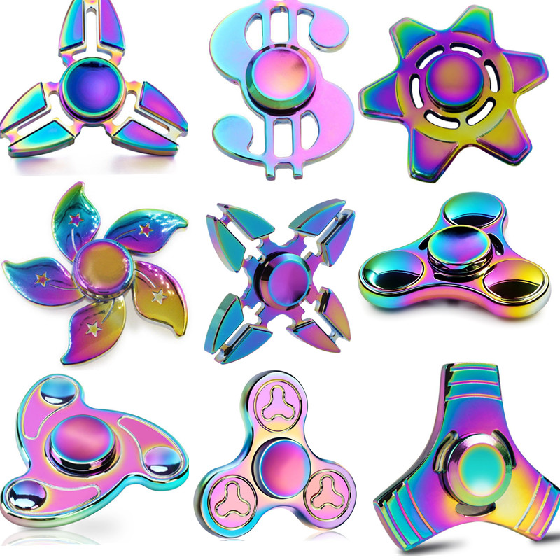 Rainbow Hand Fidget Spinner Toys Tri Spinner EDC Hand Finger Spinner for Autism and ADHD Relief