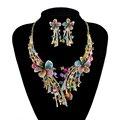 De lujo aretes Collar Nupcial conjunto crystal Rhinestone Muliti color Flor Diseño de la venta Caliente Wedding Party Prom Joyería Conjunto