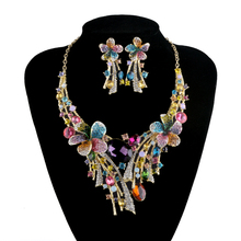 Luxury Bridal Necklace earrings set  Rhinestone crystal Muliti color Flower Design Hot sale  Wedding Party Prom  Jewelry Set
