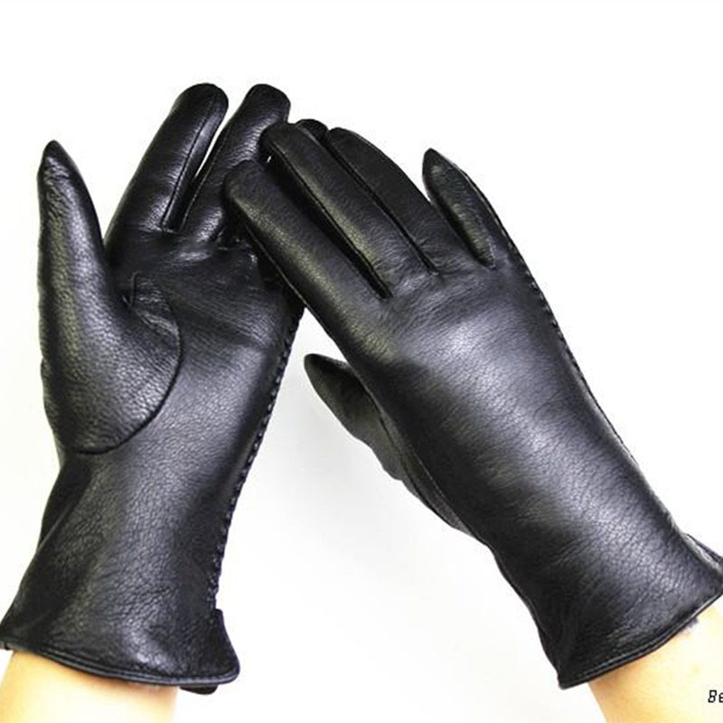 Deerskin Gloves Female Fashion Side Lace Style Leather Gloves Velvet Lining Warm Autumn And Winter Free Shipping