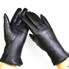 Deerskin gloves female fashion side lace style leather velvet lining warm autumn and winter free shipping
