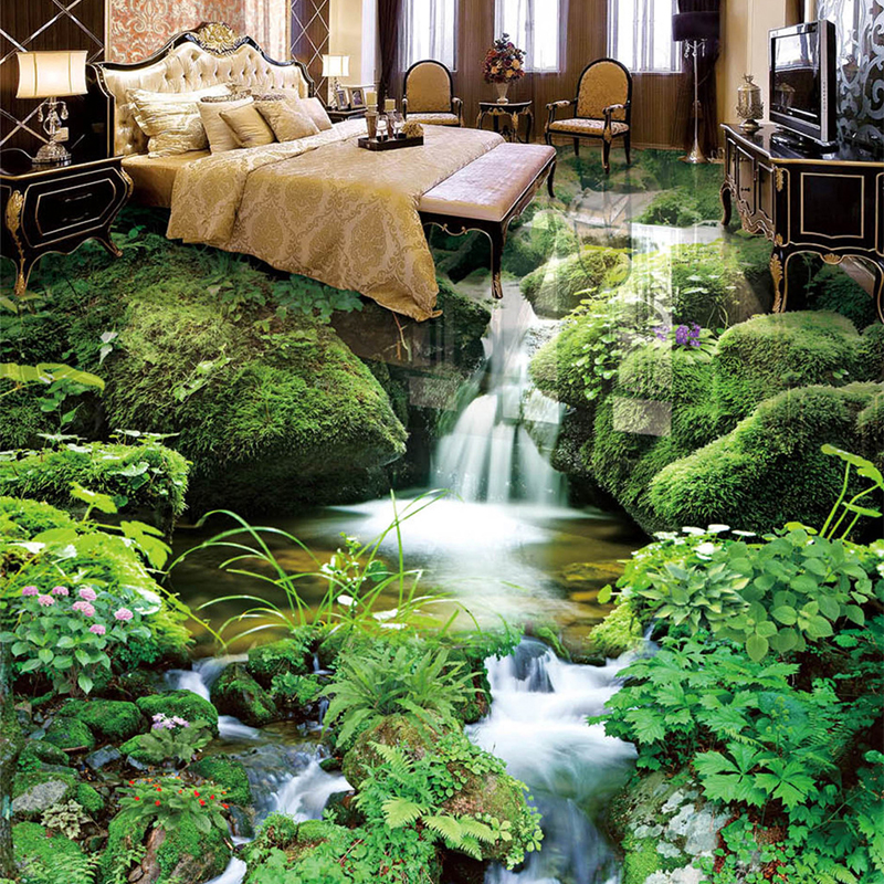 Hd Waterfall Rivulet Landscape Floor Tiles Mural Pvc Self