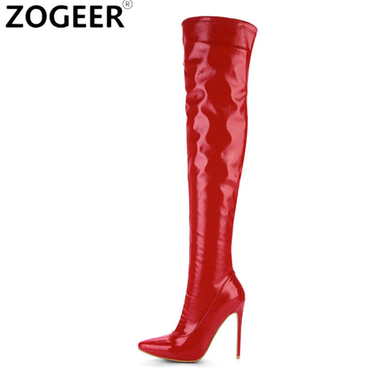 Plus Size 48 New 2018 Women Thigh High Boots Fashion Patent Leather Over The Knee Boots Sexy Nightclub Dance Ladies Shoes Red plus size 43 new women thigh high boots fashion over the knee boots sexy high heels ladies nightclub party shoes woman