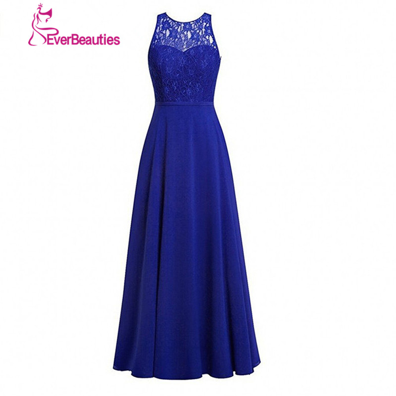 Robes de demoiselle d'honneur africaine bleu Royal longues 2019 dentelle Top Sexy robe Madrinha Casamento a-ligne robes en mousseline de soie sans manches