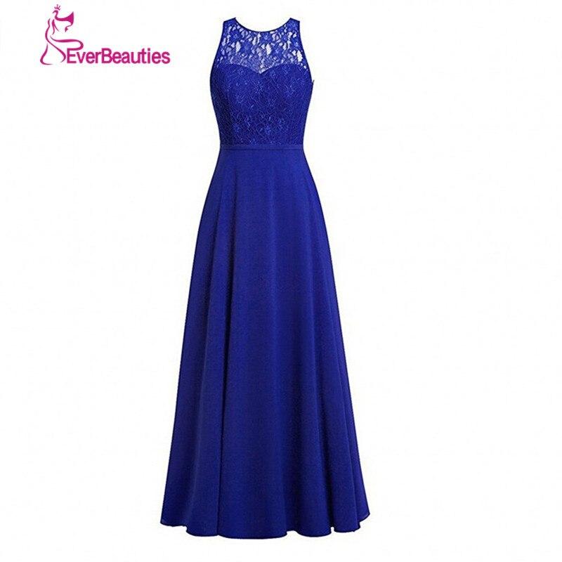 Royal Blue African   Bridesmaid     Dresses   Long 2019 Lace Top Sexy Vestido Madrinha Casamento A-line Sleeveless Chiffon   Dresses