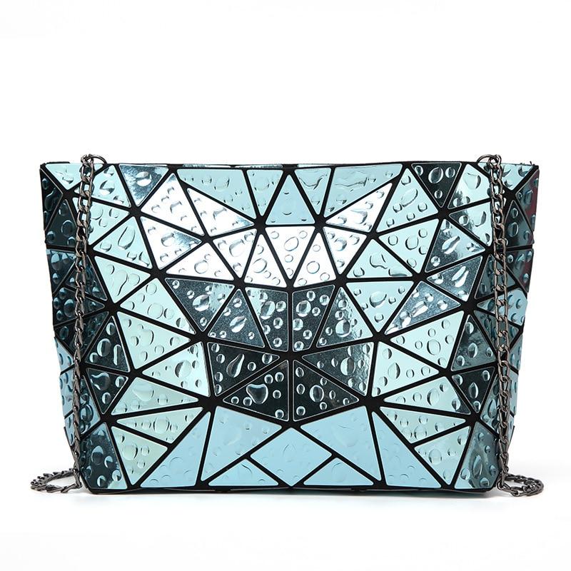 Raindrop Mirror Effect Chains Bag Fashion Women Handbags Diamond Lattice Fold Over Shoulder&Crossbody Bags Messenger Ba