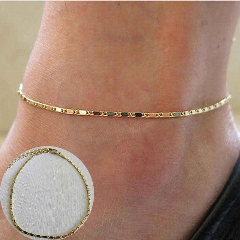 Moda złoty cienki łańcuszek kostki urok łańcuszek na kostkę nogi bransoletka Foot biżuteria wokół kostki regulowany bransoletki dla kobiet akcesoria