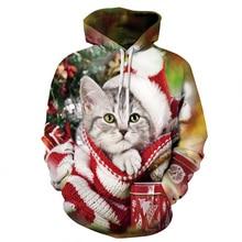 цены 3d Hoodies Sweatshirts Men Women 2019 Christmas Gifts Santa Claus Christmas Cat Dog print Male Tops Hoody Winter Female Pullover