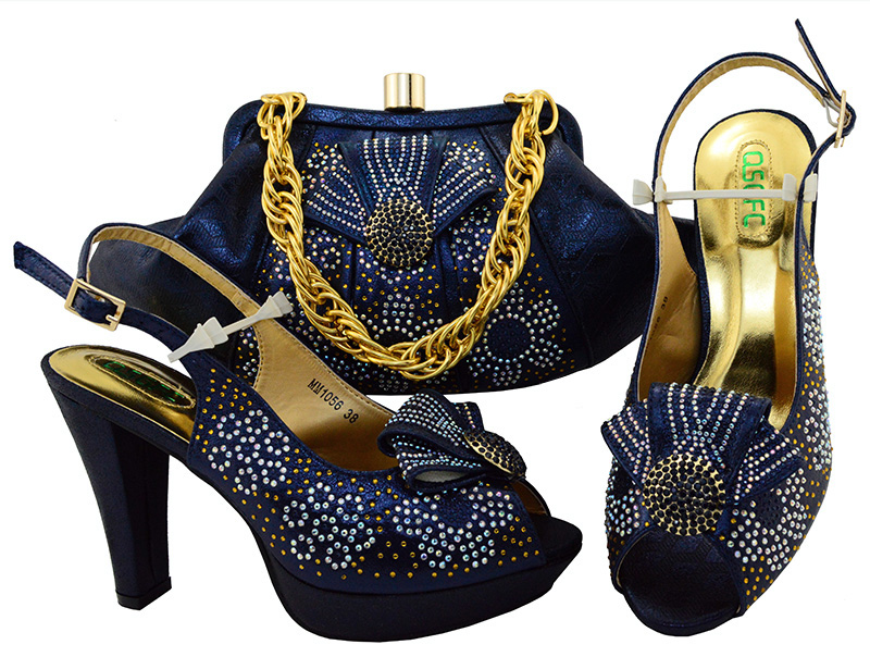 Navy blue shoes and bag matching set free shiping italian design sandal shoes with matching evening bag big size 43 SB8084-4 cd158 1 free shipping hot sale fashion design shoes and matching bag with glitter item in black