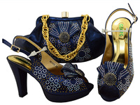 Navy blue shoes and bag matching set free shiping italian design sandal shoes with matching evening bag big size 43 SB8084 4