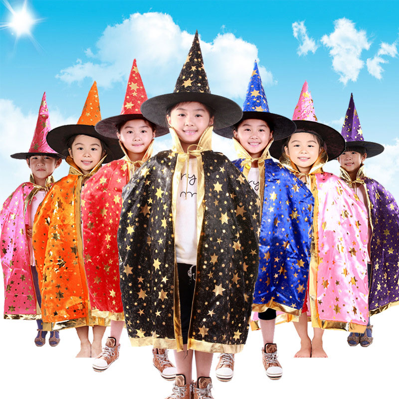 Umorden Boy Girl Kids Children Halloween Costums Witch Wizard Cloak Gown Robe And Hat Cap Stars Fancy Cosplay For Boys Girls