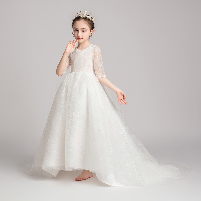 2019 New Fashion childrens Girls Solid White Evening Birthday Long Tail Dress Teens Costume Model Walking and Show Host Dress2019 New Fashion childrens Girls Solid White Evening Birthday Long Tail Dress Teens Costume Model Walking and Show Host Dress