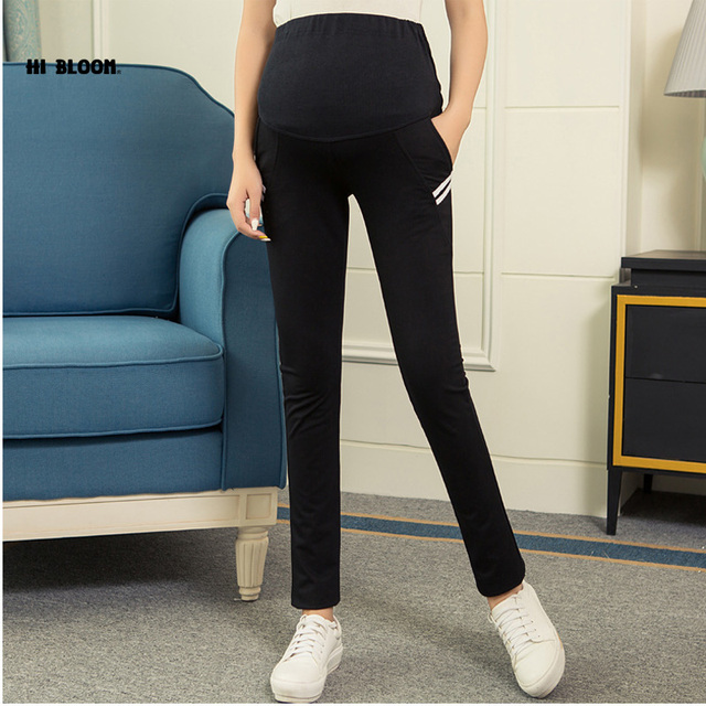 High Waist Cotton Autumn Winter Maternity Clothing Elastic Waist Sports Pants&Capri for Pregnant Women Maternity Pants Overalls