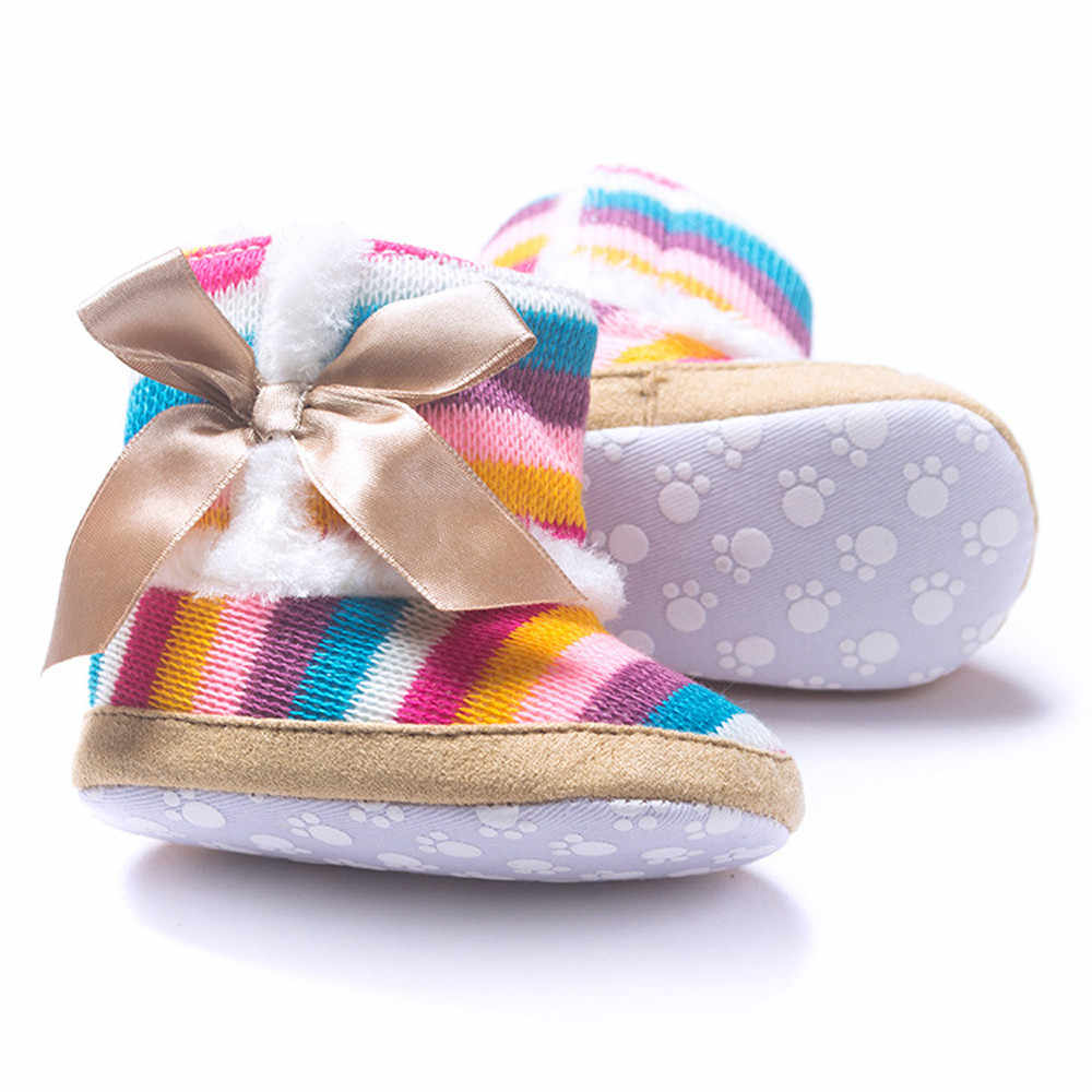 Детские Радуга Вязание Шерсть Booots младенческой малыша прекрасная зимняя теплая обувь для девочек Booty кроватки Дети мягкая подошва # YL1