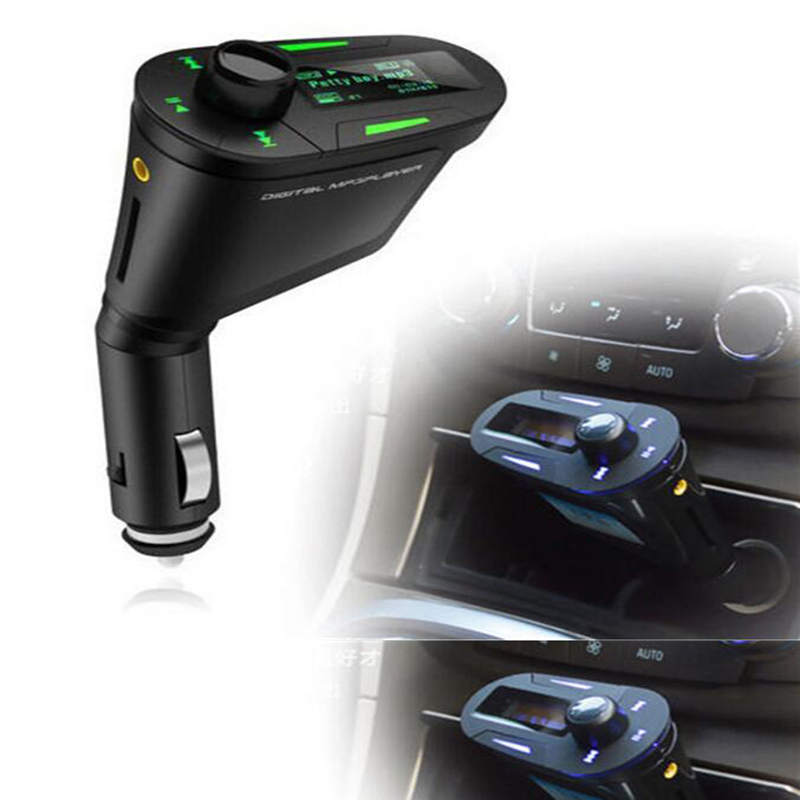 New Hot Green LCD Car Kit MP3 Player Music Player Wireless FM Transmitter Modulator LCD USB SD MMC Light Remote Control