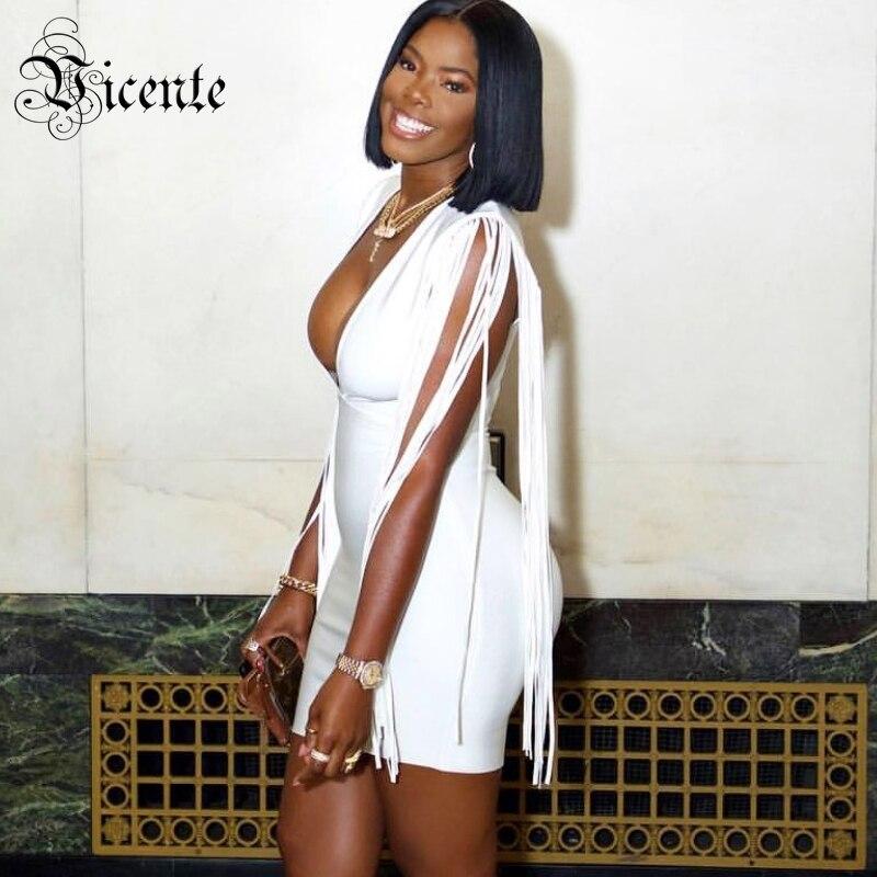 Robe Blanc Bandage Chaude Longues Gros Vicente En Mini Manches V Celebrity Sexy Glands Élégant Col À De Party wXEEq