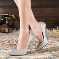 sequined cloth gold silver pointed toes high heels super high women pumps