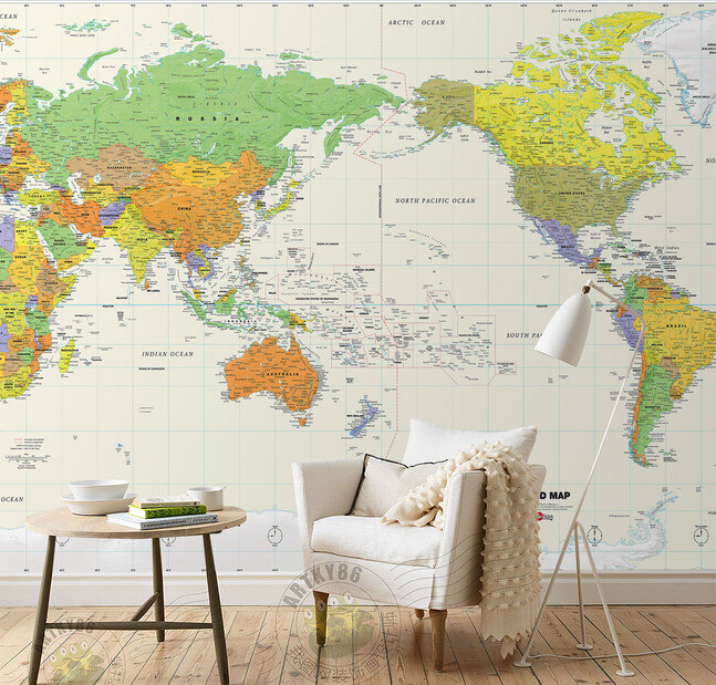 Custom papel DE parede infantil, cartoon world map murals for boys and girls children room bedroom background wallpaper custom children wallpaper multicolored crayons 3d cartoon mural for living room bedroom hotel backdrop vinyl papel de parede