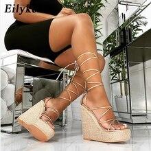 Eilyken mode été compensées femmes sandales bout ouvert bride à la cheville dames plate forme sandales à talons compensés talons hauts chaussures taille 35 42