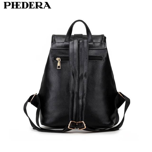 PHEDERA Stylish Women Backpacks Fashion PU Leather for Female 2017 Rucksack College Student Teenagers Back Pack School Bag