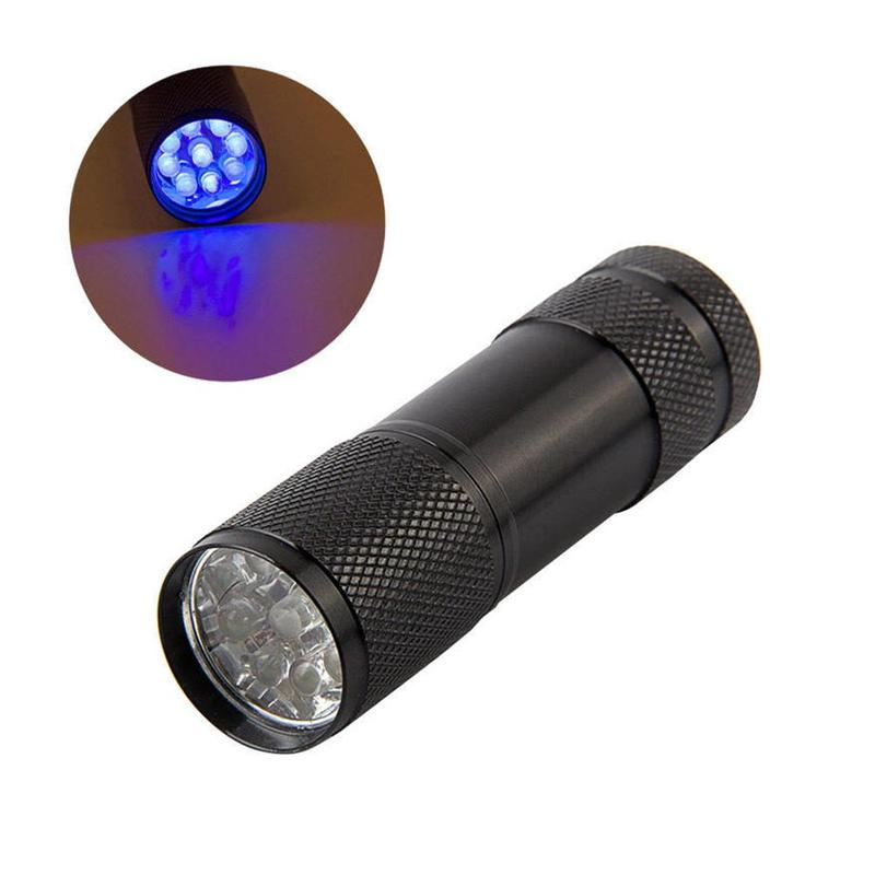 Mini Portable Ultra Violet Light Lamp 9 LEDs Flashlight For Fly Tying Buzzer Bug Nymph UV Glue Curing Fishing Flies Making