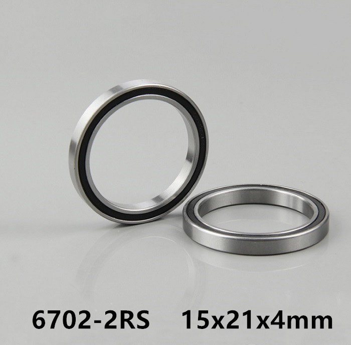 50pcs 6702-2RS 15*21*4 rubber sealed thin wall deep groove ball bearings <font><b>6702RS</b></font> 6702 2RS 15x21x4 mm image
