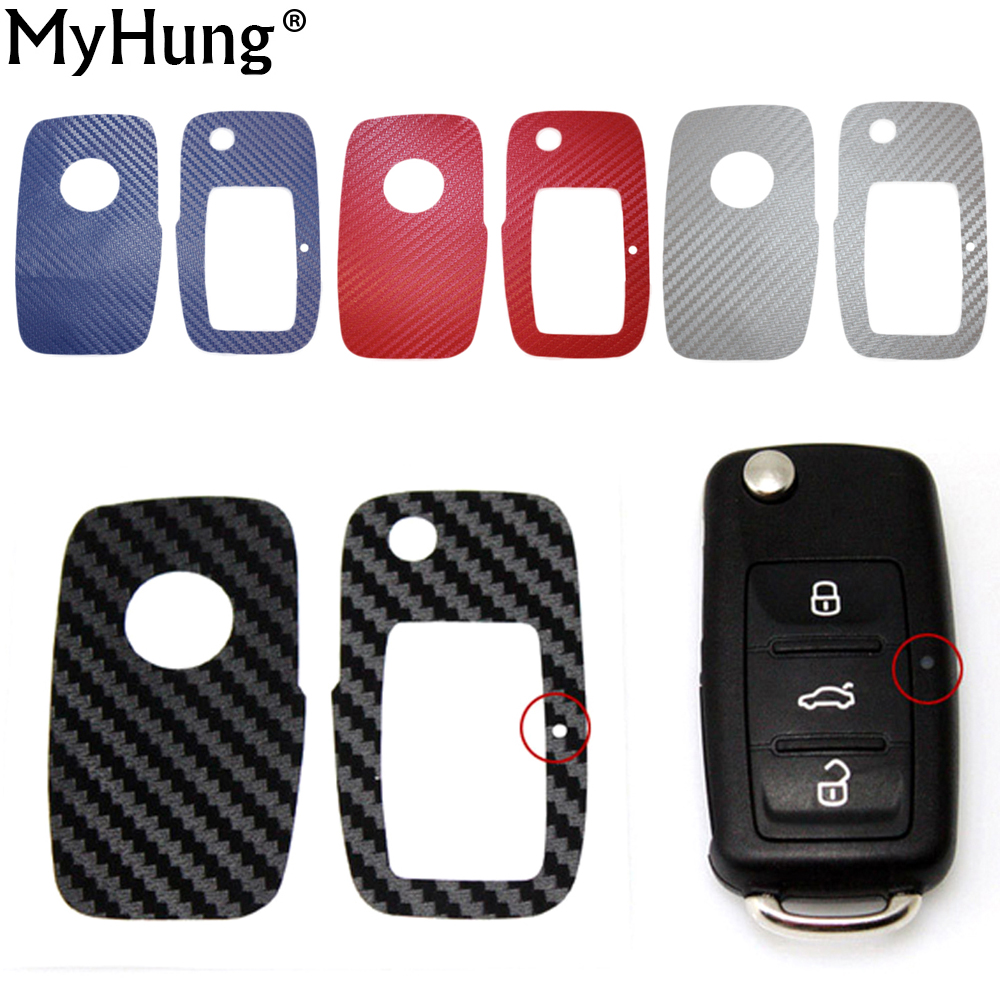 Carbon Fiber Car Key Sticker Cover Case Special For Volkswagen VW Golf 6 Jetta Tiguan New Polo ...